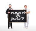 Need a job two businessman holding blackboard with drawing Stock Photos