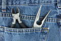 Needle-Nosed & Pliers Side Cutters in Jeans Pocket Stock Photo