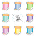 Needle and pastel threads stickers silver thimble shaded in eight colors for sewing tailoring quilting crafts needlework do it Stock Image