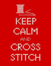 Needle and thread keep calm and cross stitch retro needlework sewing design embroidery sampler spool of isolated on red background Stock Photo