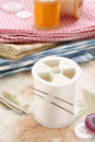Needle and thread needles threads with quilting fabrics Stock Image