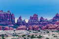 Needles district canyonlands photographerd after sunset Royalty Free Stock Images