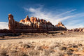 Needles house rocks rock cliffs inside the district of canyonlands national park Stock Photo