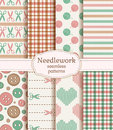 Needlework seamless patterns. Vector set.