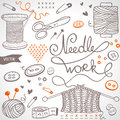 Needlework set beautiful illustration doodle silhouette subject for Royalty Free Stock Photos
