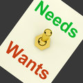 Needs wants lever shows requirements and luxuries showing Royalty Free Stock Photos