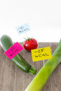 Negative calories food leeks zucchini and tomato Stock Photos