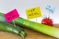 Negative calories food leeks zucchini and tomato Royalty Free Stock Photography