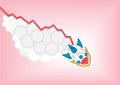 Negative decreasing growth chart with cartoon rocket falling down as infographic Royalty Free Stock Photo