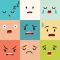 Negative emoticons vector pattern. Emoji square icons