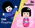 From negative to positive emotion illustration. Mood booster concept image