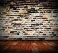 Neglected interior abstract backdrop architectural with old brick wall Royalty Free Stock Photo