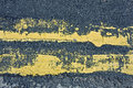 Neglected yellow lines Royalty Free Stock Photo