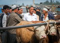 Negotiating the sale group of men a deal and price for cow on busy livestock sunday market in kashgar xinjang province china Stock Image