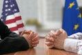 Negotiation of USA and European Union. Statesman or politicians. Royalty Free Stock Photo