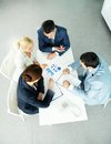 Negotiations above view of successful partners during at meeting Stock Image