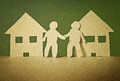Neighbor unity and friendship of neighbors in vintage paper style Royalty Free Stock Photos