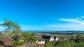 Neighborhood with blue sky green area and Stock Photos