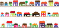 Neighborhood with colorful homes illustrated on white Stock Images