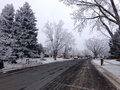 Neighborhood after snow and ice storm Royalty Free Stock Image