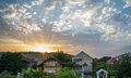 Neighbourhood colorful sunset in beautiful Stock Photography