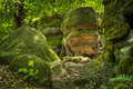 Nelson ledges state park ohio huge moss and lichen covered boulders at Stock Image