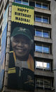 Nelson mandela birthday poster in johannesburg Royalty Free Stock Images