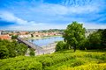 Nemunas river and kaunas panorama of the town of on the west of lithuania with church on front Stock Image