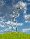 Neo earth shiny silver robot holds up alien ringed planet Royalty Free Stock Photo