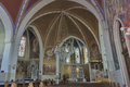 Neo Gothic Church of Saint Martin interior in Bled. Royalty Free Stock Photo