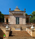 Neoclassical pavilion at labyrinth park of horta in summer day barcelona Royalty Free Stock Photos