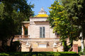 Neoclassical pavilion at parc del laberint de horta in barcelona catalonia spain Stock Photos