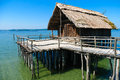 Neolithic lake dwellings at the lake constance reconstructed dwelling on shore of locally known as bodensee these are of stone Royalty Free Stock Photo
