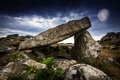 Neolitic dolmen and big moon Royalty Free Stock Images