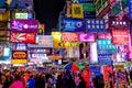 Neon Advertising in Hong Kong at Dusk Royalty Free Stock Photo