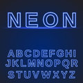 Neon alphabet. Glowing font.