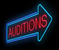 Neon auditions sign illustration depicting an illuminated Stock Images