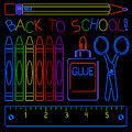 Neon back to school signs set of supplies rendered in style Stock Image