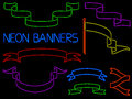 Neon banner set of banners and flags rendered in style Stock Photography