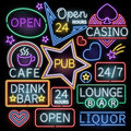 Neon bar illumination vector signs Royalty Free Stock Photo