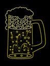 Neon beer mug Stock Images