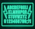 Neon blue font. Bright capital letters with numbers on a dark background