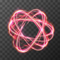 Neon blurry swirl, red trail effect at motion Royalty Free Stock Photo