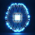 Neon brain. Cpu. Circuit board. Abstract technology background Royalty Free Stock Photo