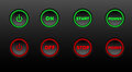 Neon buttons  icon set on black bacground Royalty Free Stock Photo