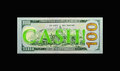 Neon cash on bill the word in green the backside of the new background is solid black Royalty Free Stock Photography