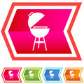 Neon Chevron Icon Set: BBQ Stock Photo