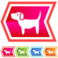 Neon Chevron Icon Set: Dog Royalty Free Stock Photo