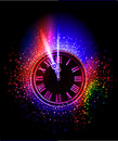 Neon clock  background Royalty Free Stock Photography