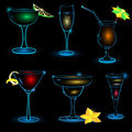 Neon-Cocktail-icon-set Royalty Free Stock Photo